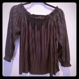 Banana Republic espresso brown ruffled top